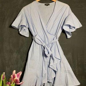 Top Shop NEW! Ruffled Blue&White Striped Dress